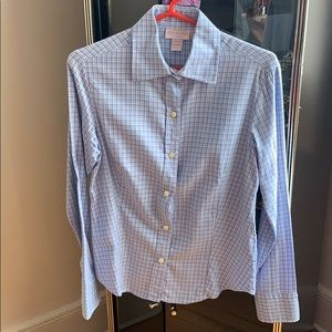 Outrage Blue striped collared button shirt